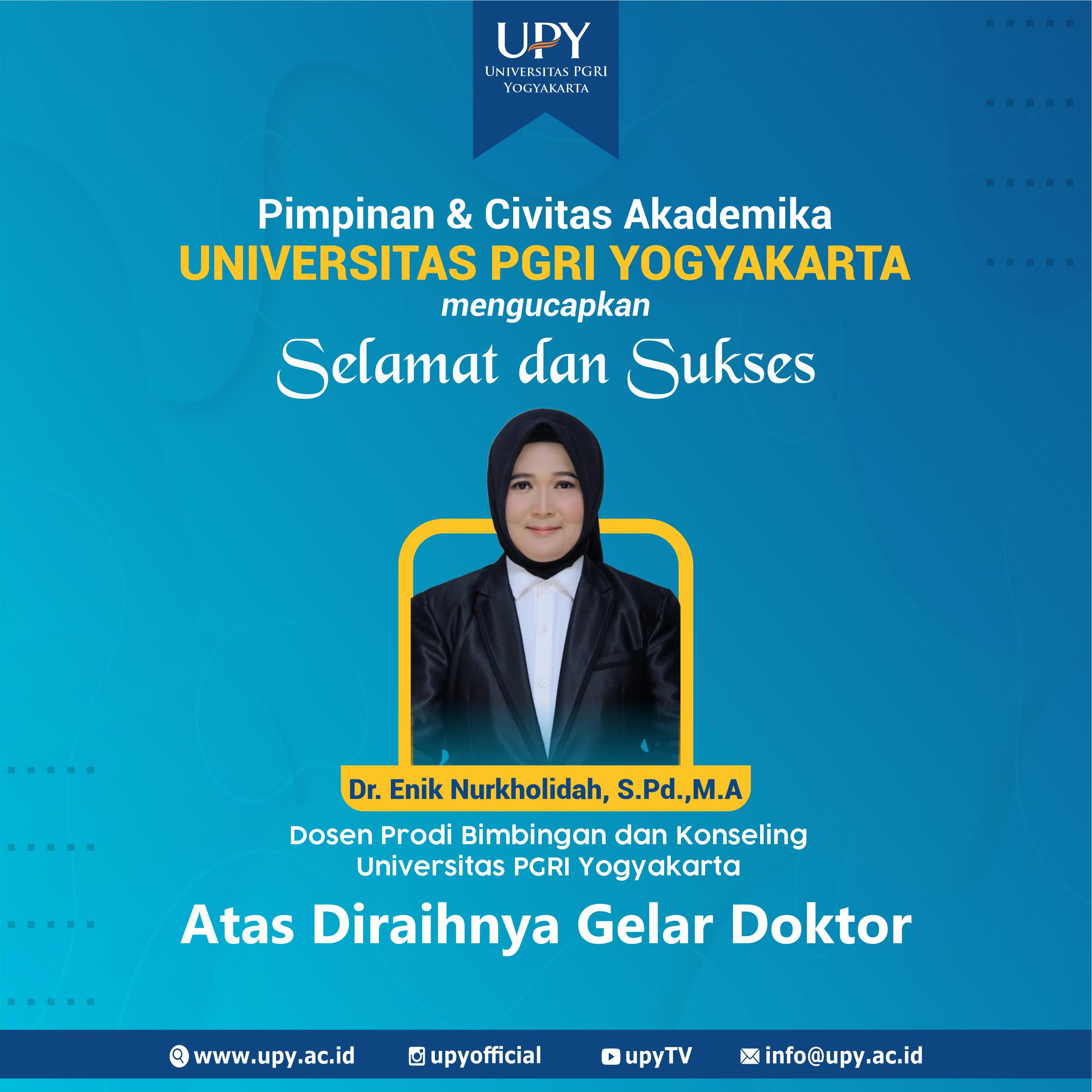 Dosen UPY Enik Nurkholidah Raih Gelar Doktor, Menambah Deretan Dosen Bergelar Doktor di UPY