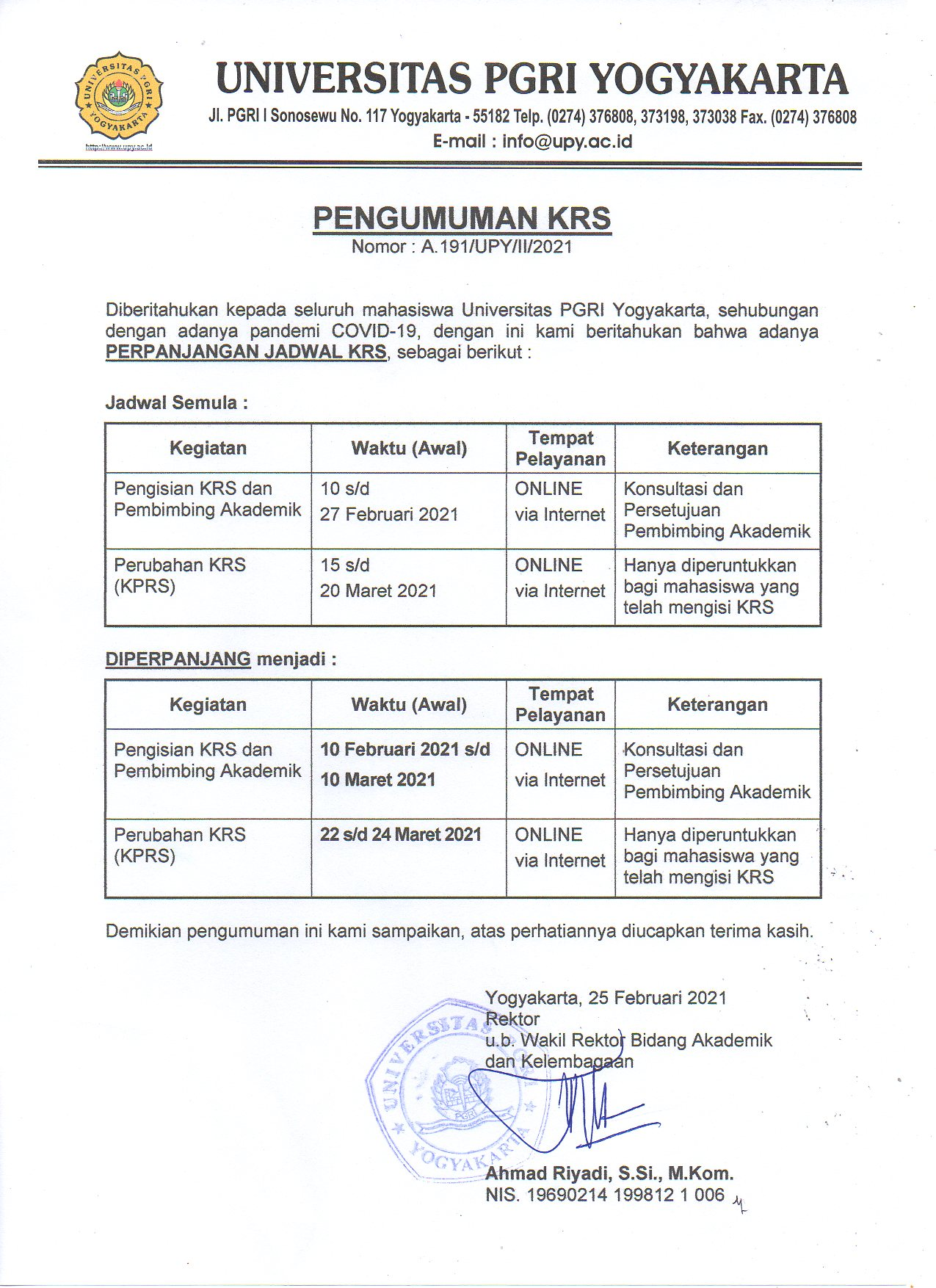 Pengumuman Perpanjangan KRS Semester Genap Tahun Akademik 2020/2021